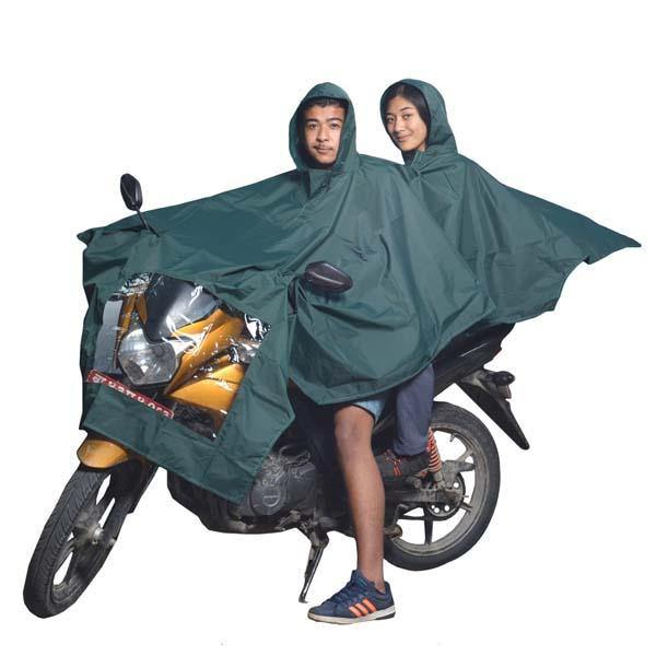 Green Double Layer Biker Raincoat