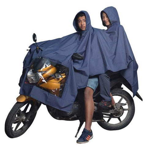 Double Layer Waterproof Bike Raincoat with  (Unisex) -Navy Blue