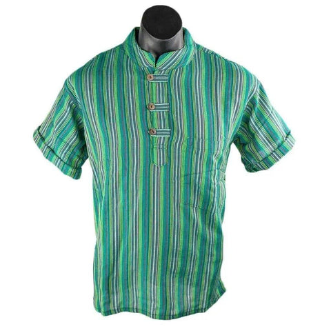 Short Sleeve Stripe Kurta – Sea Green