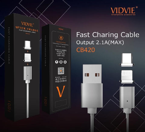 Vidvie Cb420 Double Magnet Charging Cable Android - Thunderbolt