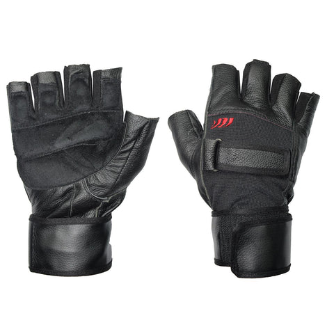 Gym Leather Gloves With Wrist Belt