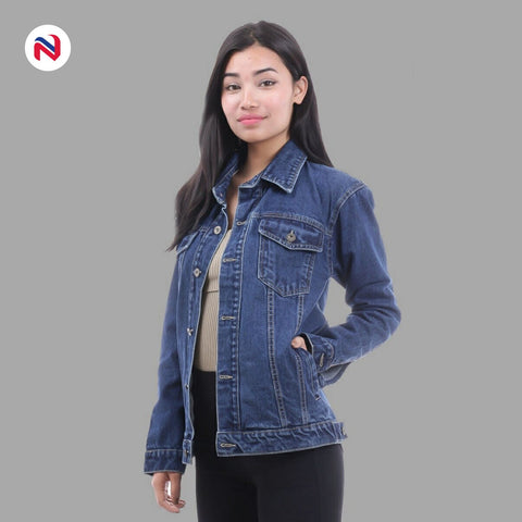 Nyptra Dark Blue Solid Oversize Plain Denim Jacket For Women price in nepal