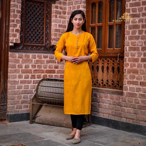 Bisesh Creation Yellow Ethnic Design Solid Kurti For Women