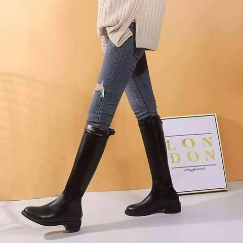 Winter Fashion Casual Long Knee High Boots Med Square Heels Short Plush Worm Inside Round Toe Rome Solid For Women ( ST-23994 )price in Nepal