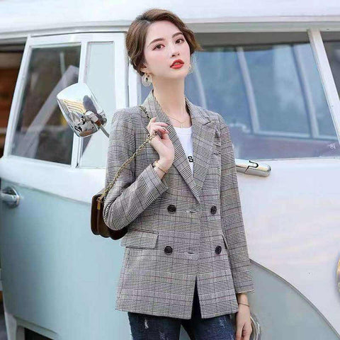 Women's Full Sleeve Double Button Notched Lapel Check Blazer by Attire Nepal price in Nepal