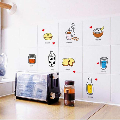 Creative Removable Cartoon Food Milk Bread Cake Wall Stickers price in Nepal