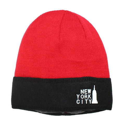 New York City Printed Wool Cap With Fleece Lined Inside - Black/Red