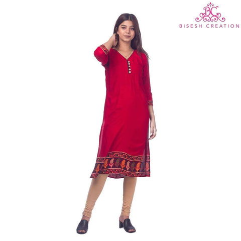 Bisesh Creation Red Jaipuri Rayon Printed Front Buttoned Kurti For women