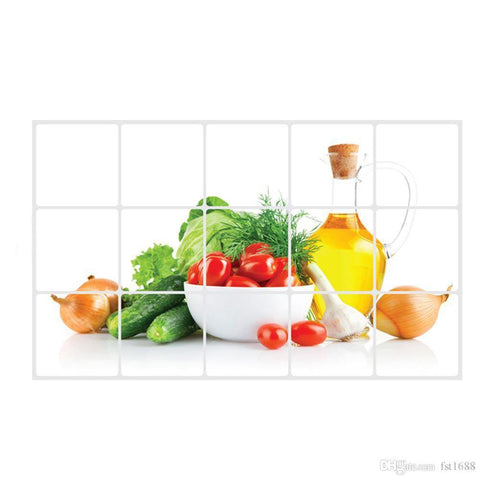 Vegetable Anti-Oil Stickers For Kitchen Pvc Printed For Kitchen Wall Rooms Practical Stickers Home Decor-Assorted Color
