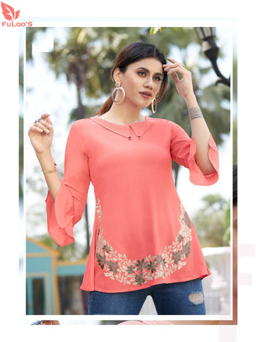 Fuloo Glazier Rayon tops with Embroidery for Women # 1034 price in nepal