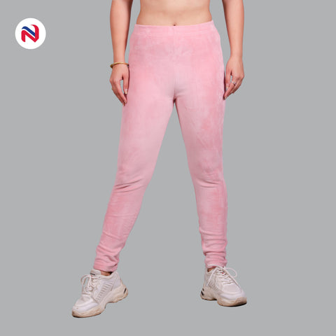 Nyptra Baby Pink Plain Velvet Fleece High Rise Fancy Leggings For Women price in nepal