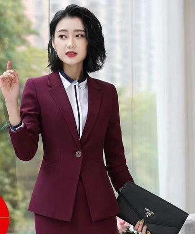 Women's Structured Notched Lapel Maroon Blazer by Attire Nepal