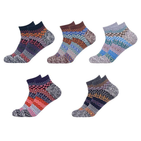 Unisex 5 Pair Pack Vintage Pattern Thick Cotton Ankle Socks