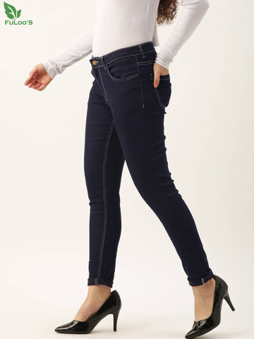 DB Women Blue Skinny Fit Mid-Rise Clean Look Stretchable Ankle Length Jeans