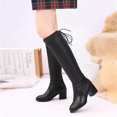 Fabulous Leather Women Fashion Hoof Heels Boots ( Nep-1)