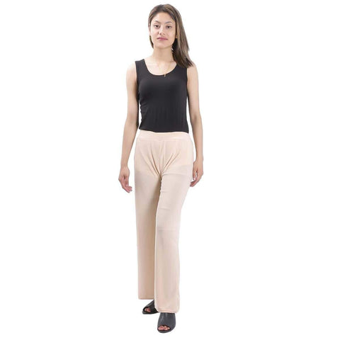 Cream Solid Wide Leg Strecthable Pant For Women price in nepal