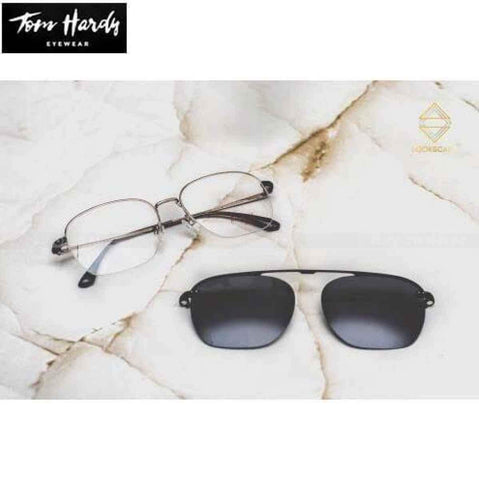 Tom Hardy Black Metal Square Half Frame Clipon Unisex Sunglass