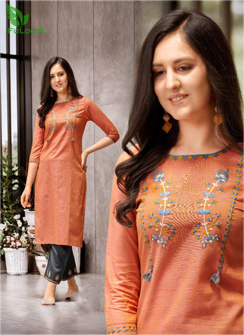 FuLoo's Prestige Pure Cotton Pattern Designer Embroidered Kurti for Women #04 price in nepal