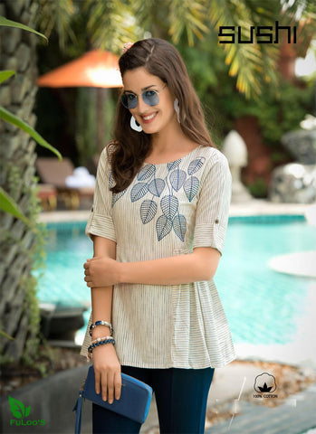 Sushi Cotton Designer Embroidered Short Tops # 002 price in nepal