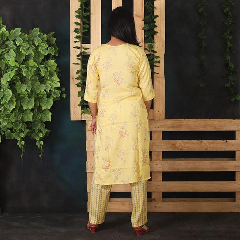 Yellow Floral Print Kurti with Golden Flower & Striped Pant Set for Women