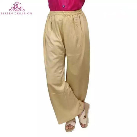 Bisesh Creation Beige Solid Rayon Palazzos For Women Price in nepal