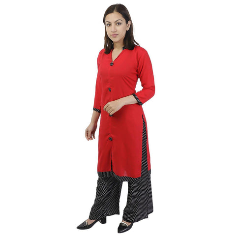 Bisesh Creation Red Rayon Middle Cut Kurti & Palazzo Set For Women