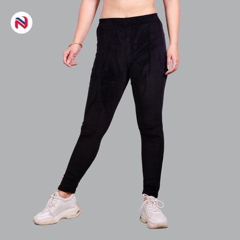 Nyptra Black Plain Velvet High Rise Fancy Leggings For Women price in nepal