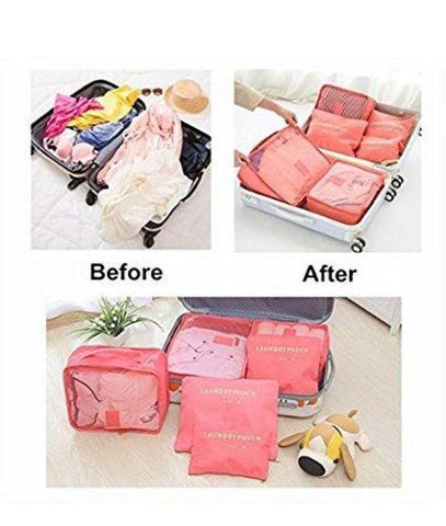 6 In 1 Travel Laundry Pouch Cosmetics Makeup Bags Organizer (Colors May Vary)