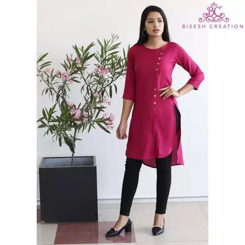 Bisesh Creation Pink Solid Front Buttoned Designed Kurti For Women