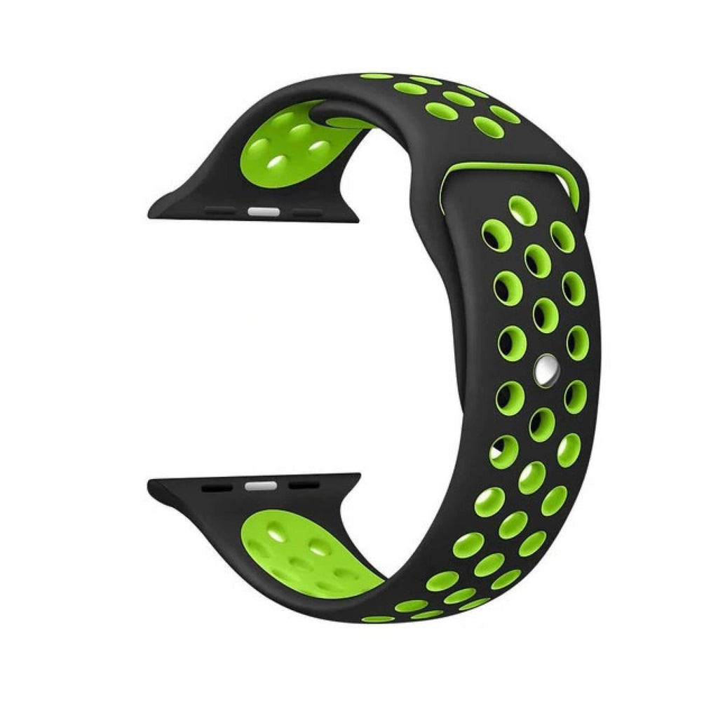 Nike Sport Band Light. Flexible. Breathable. Made from Fluoroelastomer as the original Apple Watch Sport Band. Made of top quality TPU material. Soft and durable. And row after row of molding holes, not only to further reduce the weight, but also improve the permeability.