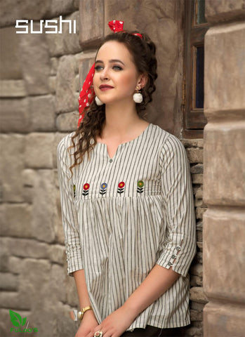 Sushi Cotton Designer Embroidered Short Tops # 004 price in nepal