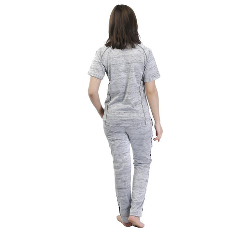Knitted Cotton Sports T-Shirt & Trouser Set For Women