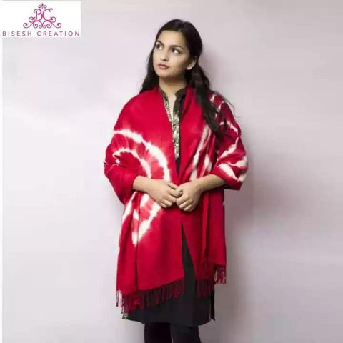 Bisesh Creation Red Tie Dyed Acrylic Pashmina Shawl For Women