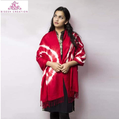 Bisesh Creation Red Tie Dyed Acrylic Pashmina Shawl For Women price in nepal