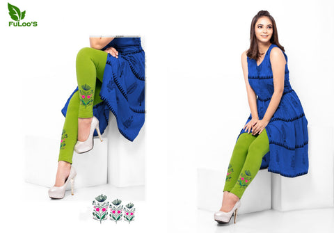 Women Embroidery Leggings in Light Green price in nepal