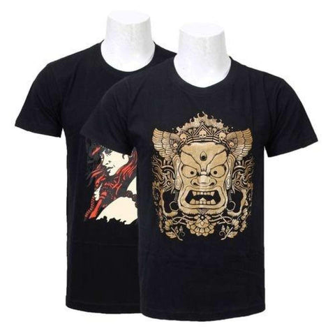 Shangrila Pack Of 2 Cotton Printed T-Shirts For Men -Black