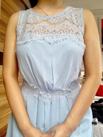 Zalora Bridesmaid Lace Insert Dress/ Sky blue dress