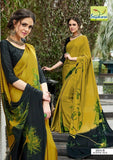Mehendi Green Printed Crepe Designer Sarees With Blouse For Women