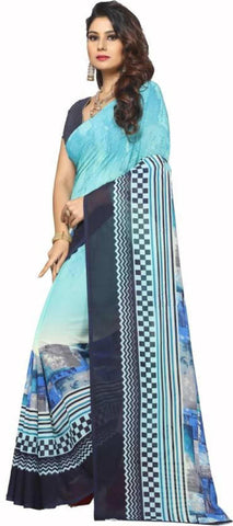 Digital Printed Georgette Saree With Matching Blouse For Women Price in Nepal