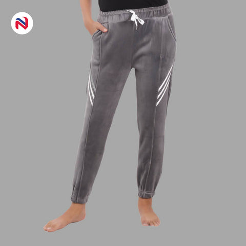 Nyptra Grey Velvet Stripes Inner Fleece Joggers For Women price in nepal