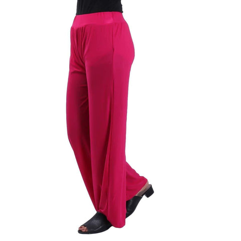 Pink Solid Wide Leg Strecthable Pant For Women