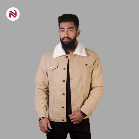 Nyptra Peanut Solid Fur Denim Jacket For Men price in nepal