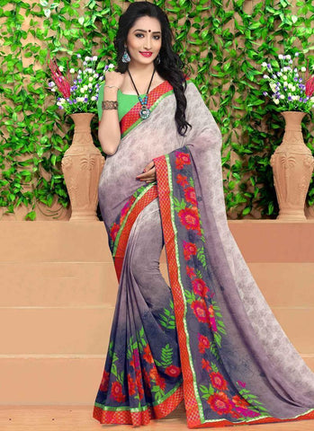 Multi Colour Georgette Digital Printed Casual Saree With Matching Blouse 9141 For Women price in Nepal