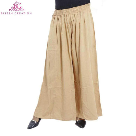 Beige Solid Sharara Salwar For Women