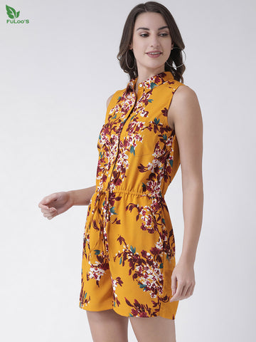 Women Yellow & Red Printed Playsuit