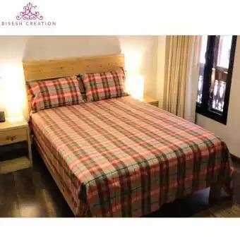 Bisesh Creation BD 11 Beige/White Checkered Cotton Bed Sheet With 2 Pillow Cover