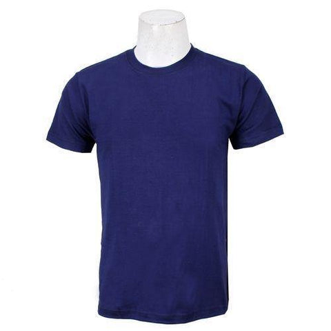 Navy Solid Round Neck T-Shirt For Men