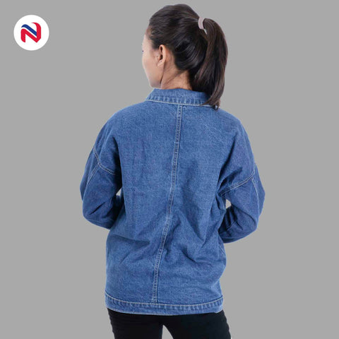 Nyptra Light Blue Over Size Solid Denim Jacket For Women