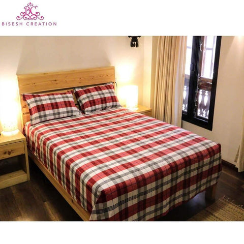 Bisesh Creation Orange Beige Checkered King Size Cotton Bed Sheet With 2 Pillow Cover
