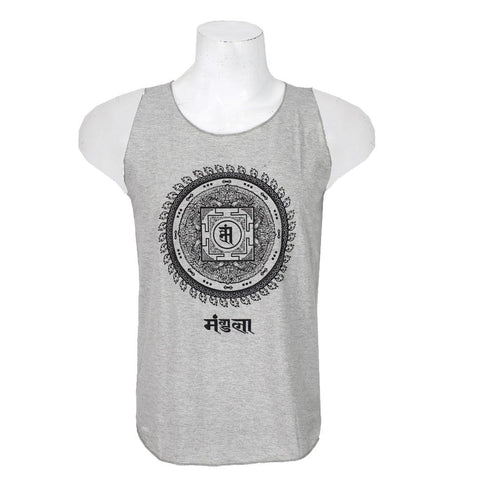 Grey/Black Cotton Printed Tank Top For Men